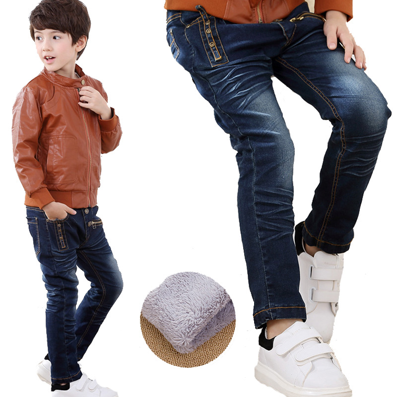 New Brand Kids Jeans Boys Casual Winter Thicken Long Jeans Pants Baby Boy Jeans Cotton Warm Denim Trousers Boys Fashion Clothes new 2015 autumn winter fashion baby kids boys long sleeve shirt jeans denim trousers set outfits 1 6y