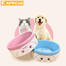 RFWCAK New Non-slip Ceramics Dog Bowl For Cute Cat Puppy Feeding Watering Dual-use Feeding Dish Food Container Pet Supplies