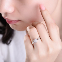 1ct carat Cubic Zirconia Stone Heart Wedding Band Ring for Women 100% 925 Sterling Silver Luxury Female Engagement Elegant Rings