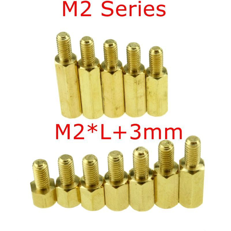 10 pcs <font><b>M2</b></font> Series <font><b>M2</b></font>*L+E(3mm) <font><b>Brass</b></font> Copper <font><b>M2</b></font> Hex Column <font><b>Standoff</b></font> Support Spacer Pillar PCB Board Male to Female image