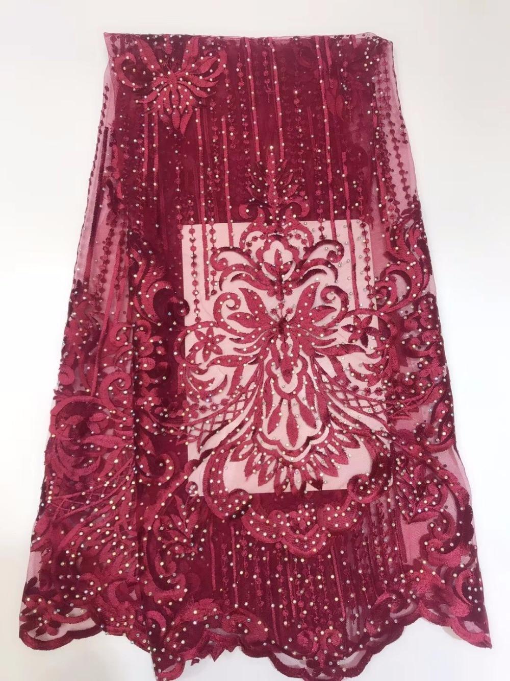 Dernière broderie maille Tulle dentelle tissu 5 Yards motif Floral pierre ajouter diamant africain dentelle tissu pour fête de mariage