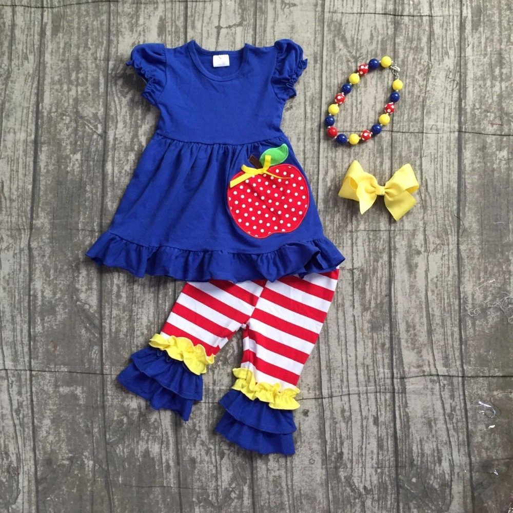 kids girls boutique clothing girls school apple top with stripes ruffle pants outfits kids ROYAL blue dress top with accessoies striped ruffle hem cami top dress
