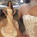 Sereia de luxo Vestidos de Noite 2016 Gola Alta Com Apliques de Pérolas Forma Cerimonial Vestido da Ocasião Especial Vestido de Noite do baile de Finalistas