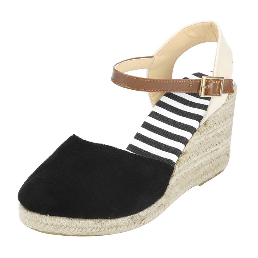 Wedge Sandals Mid-Heel Ankle-Strap Summer Shoes Women Ladies Casual