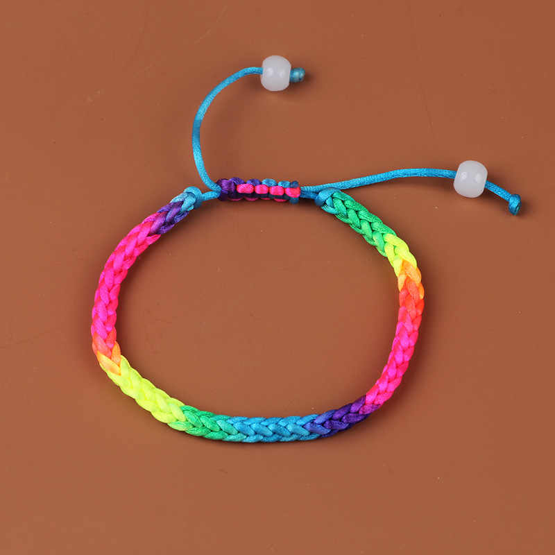 Pulseira de corda de arco-íris artesanal feminino fio de corda trançado pulseiras pulseiras gay orgulho pulseira de jóias acessórios 2019