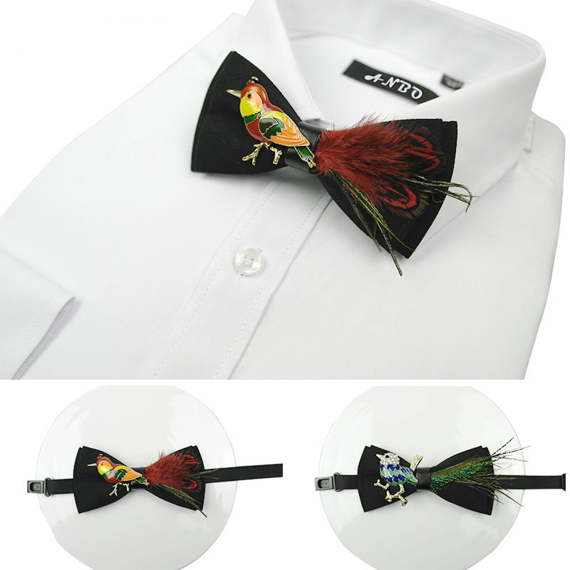 Fashion Necktie Groom Korean Crown Feather Bow Ties Luxury Wedding Birthday Party toastmaster Gifts Elegant Butterfly Bow Tie