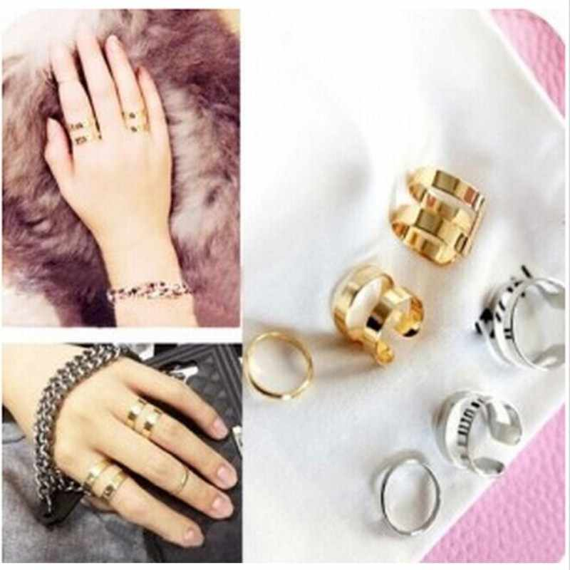 European and American minimalist personality ring opening three-piece female joints rings for women 4CRD17
