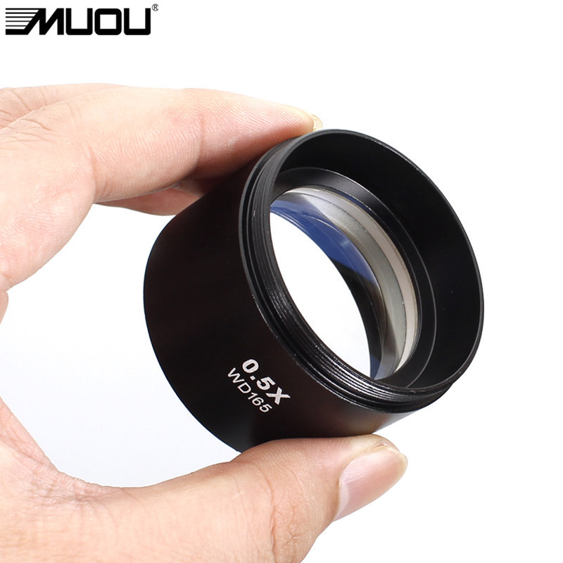WD165 0.5X Stereo Microscope Auxiliary Objective Lens Barlow Lens with 1-7/8 (48mm) Mounting Thread MUOU Brand