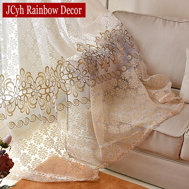 Modern Flora Tulle Curtains For Living Room Bedroom Blue Voile Sheer Curtains For Window Kitchen Door Curtain Fbric Drapes