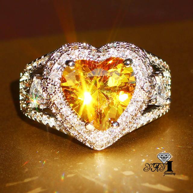 YaYI Jewelry Fashion  Princess Cut 3.5CT Yellow Zircon Silver Color Engagement Rings wedding Rings Party Rings