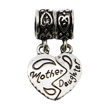 1Pc New 925 Sliver Bead Women Diy Mother and Daughter Love Heart Pendants Fit Pandora Charm Bracelets & Necklace
