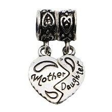 1Pc New 925 Sliver Bead Women Diy Mother and Daughter Love Heart Pendants Fit Pandora Charm Bracelets & Necklace