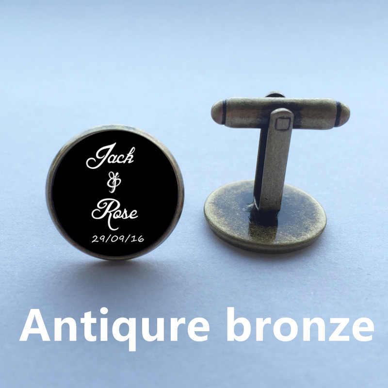 Yapabilirsiniz kelime 1 çift erkek kol düğmeleri yüksek kaliteli evli kol düğmeleri özel adı ve tarih kişiselleştirilmiş kol düğmeleri düğün