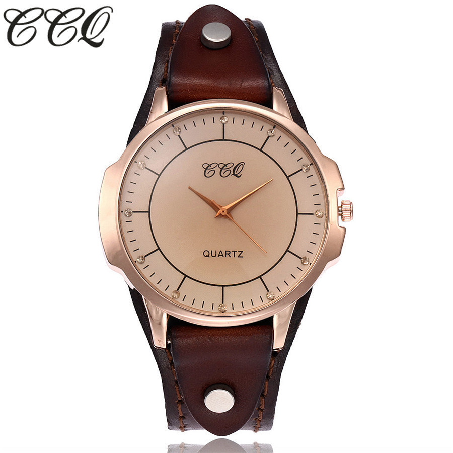 CCQ Brand Unisex Vintage Cow Leather Bracelet Watch Women Men Casual Simple Leather Quartz Wristwatches Clock Relogio Feminino vintage cow leather eiffel tower watch casual women men leather quartz wristwatches clock montre femme hot selling ccq brand
