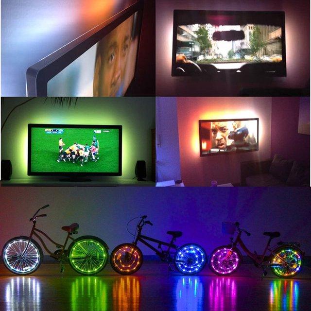 2 м цветная (rgb) Светодиодная лента с usb-питанием изменение Цвет ТВ фонового освещения с USB ИК-пульт