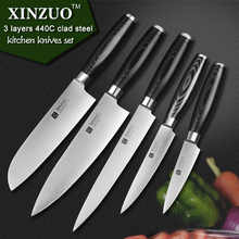 XINZUO 5 pcs kitchen knife set paring utility cleaver santoku Chef knife 3 layers 440C clad steel Kitchen Knife free shipping
