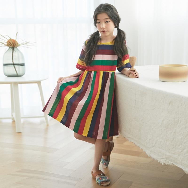 Jeune Fille Arc-En-Ciel Robe Marque Designer décontracté Coréen Enfants Robe D'été En Coton à Manches Courtes En Tissu Vêtements Pour Fille 13 Ans