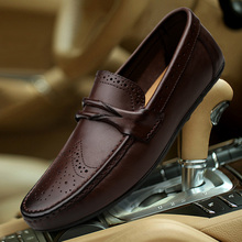 цена на New British Style Handmade Men Loafers Luxury Full Genuine Leather Men Casual Shoes Soft Flats Driving Shoes Plus Size Men Shoes