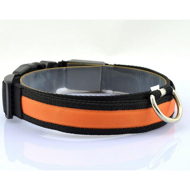 Nylon LED Pet Dog Collar for Night Safety