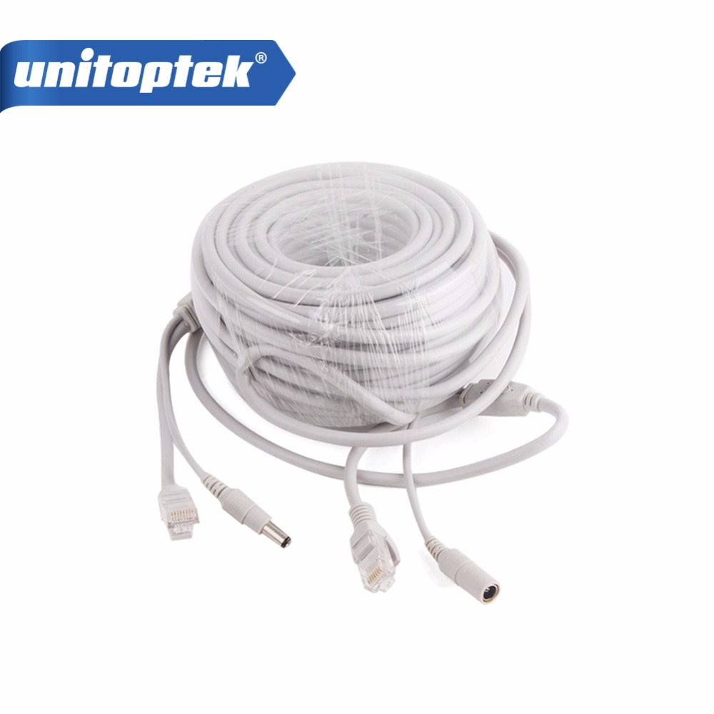 10m / 20m / 30m / 40m CAT5/CAT-5e 20M/66ft Ethernet Cable RJ45 + DC Power CCTV Network Lan Cable For NVR System IP Cameras Gray