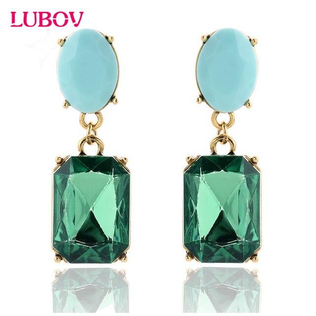 Fashion Acrylic Crystal Stone Drop Earrings Square Candy Pendant Dangle Earrings
