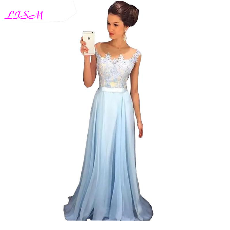LISM A Line Chiffon Long Prom Dresses Lace Applique Sash Formal Gowns gala jurken Illusion Neck Floor Length Evening Party Dress