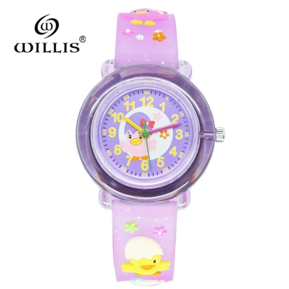 WILLIS Fashion 3D Cute Chick Adorable Cartoon Student Wristwatch Animal Quartz Silicone Clock Sports Kids Boys Girls WristWatch