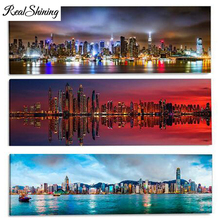Large DIY Diamond EmbroideryNew York City Manhattan Night Scene Full Square/Round 5D Painting Rhinestones FS3893
