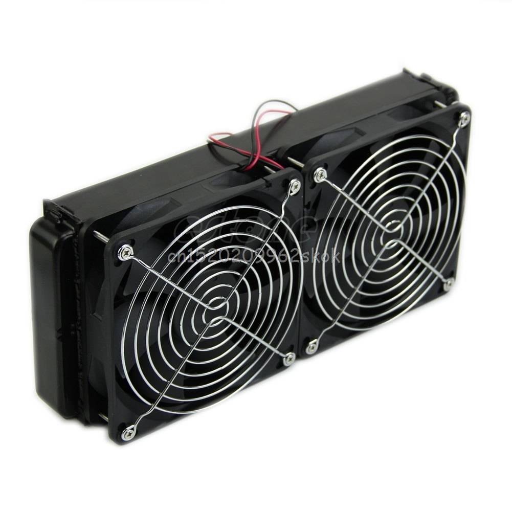 Computer Accessories 1pc 240mm Aluminum Computer Radiator Water Cooling Cooler 2 Fans For CPU Heatsink #H029# купить