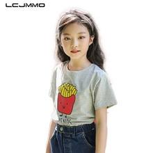 LCJMMO Cotton Kids Girls T-shirts Short Sleeve Summer 2018 Brand Cartoon Fries Girl Tshirt Tops Tee Children Clothing 4-12Years