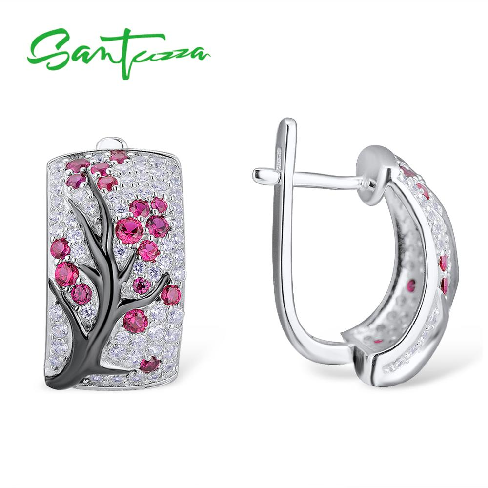 Image 4 - SANTUZZA Silver Jewelry Set for Women Shiny Pink Tree Earrings Ring Set 925 Sterling Silver сережки кольца Fashion Jewelry-in Jewelry Sets from Jewelry & Accessories