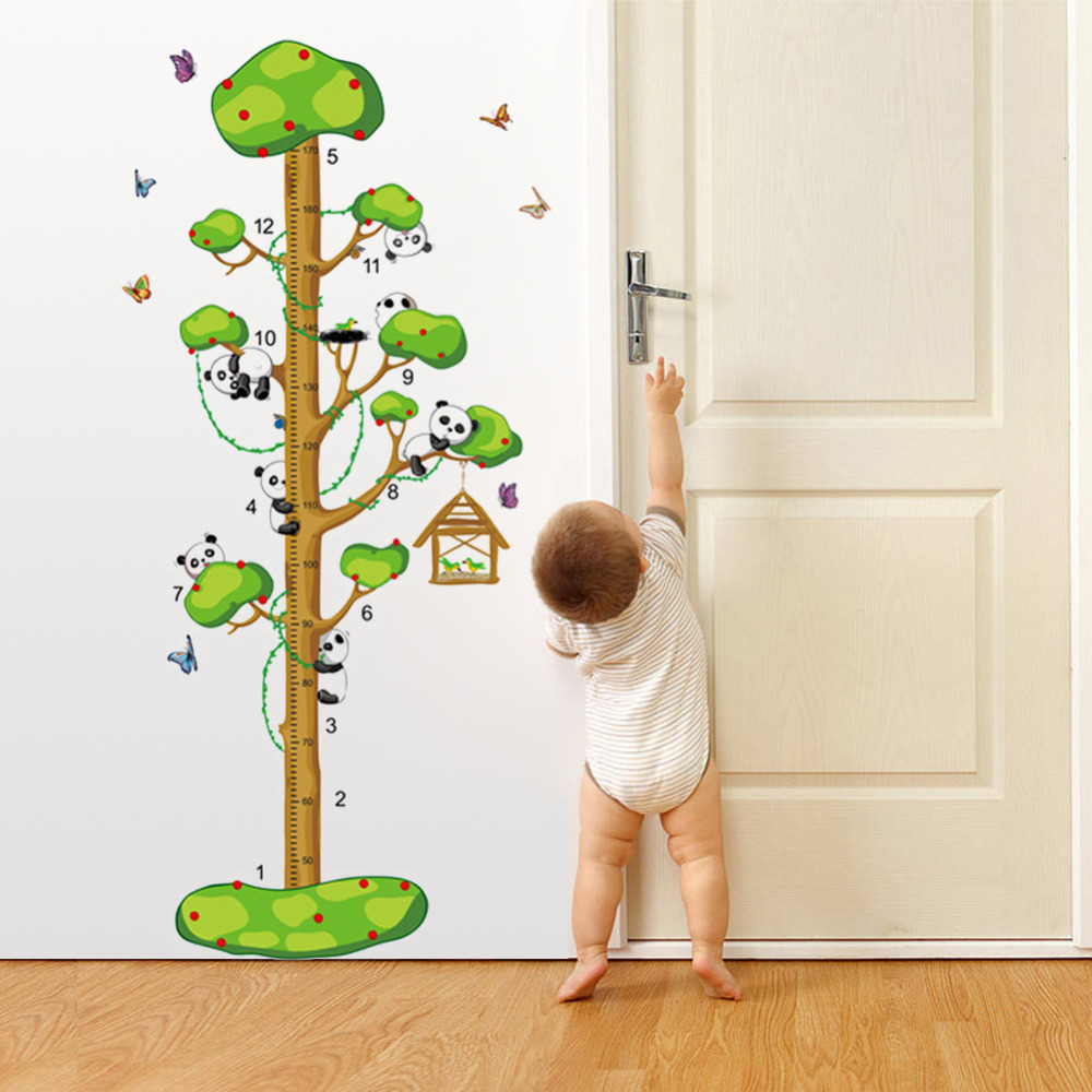 Cute pandas butterflies tree animals cartoon home decals wall cute pandas butterflies tree animals cartoon home decals wall sticker height measure growth chart for kids room wall decals 9176 in wall stickers from home geenschuldenfo Images