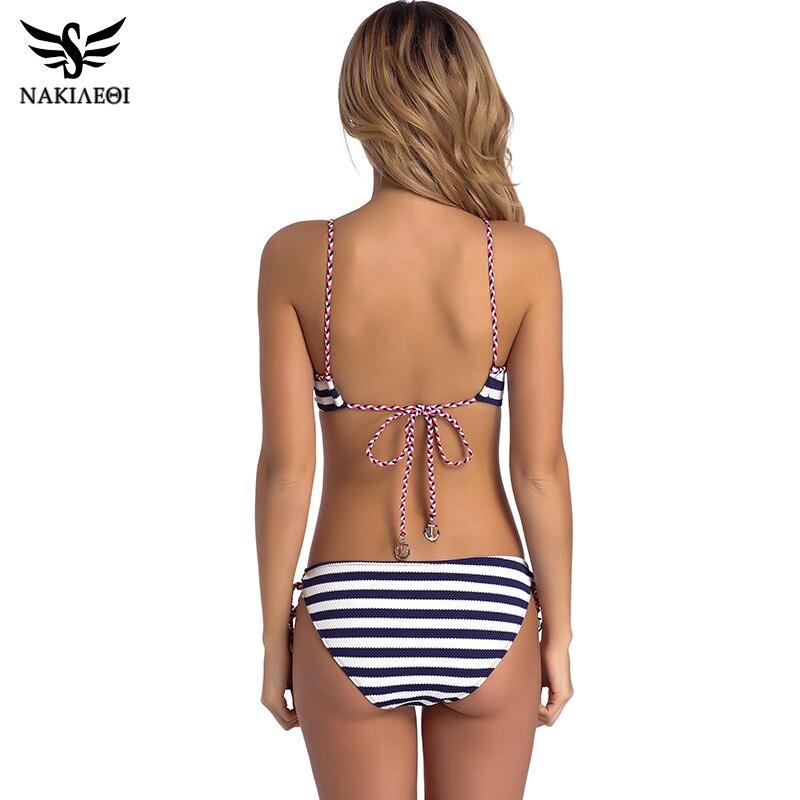 NAKIAEOI 2018 Sexy Bandage Bikini Push Up Swimwear Women Brazilian Bikini Set Bathing Suit Underwire Swimsuit Summer Swim Wear 2
