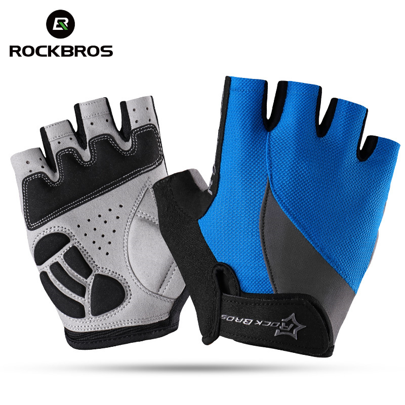 RockBros Cycling Non-Slip Breathable Bike Bicycle Gloves Men Women Summer Bicycle Short Gloves Cycle Gel Pad Half Finger Gloves