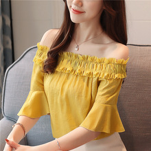 Summer Fashion Women A-word Off-shoulder Temperament Lotus Sleeve Chiffon Shirts Blouses