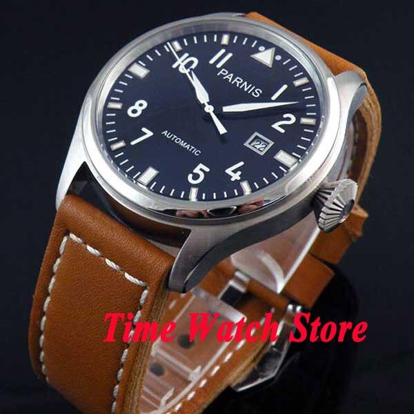 47mm Parnis Black dial white mark Luminous Automatic movement Men's watch wristwatch P38