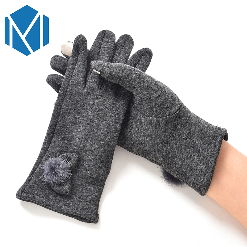 Miya Mona New Ball Bow Knot Comfortable Warm Winter Gloves Soft Wrist Mittens for Women Female Gloves Screen Touch