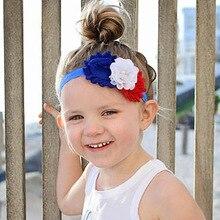 ON SALE 1PCS Chiffon flower 4th of July headband headbands girls Fourth of  July headwear hair c401ddfdd7f