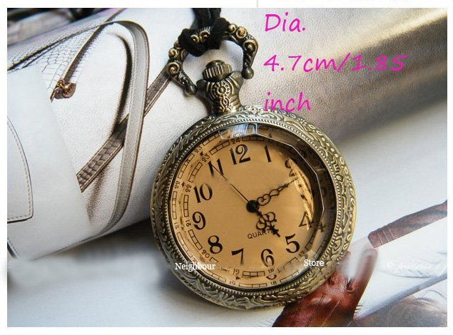 Big size/Dia.4.7cm Lovely gift Edges Citrine Pocket Watch New Whole Hot Sale (MOQ. 6pcs) free shipping(NBPWBEC)