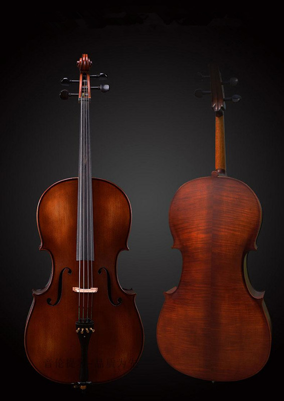 Hand Made Strad Style 4/4 Cello Old Spruce Top Flame Maple Wood Back