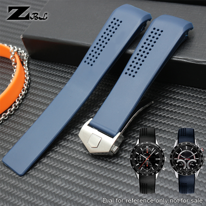 Silicone Rubber Watchband 22mm Sports Watch Strap 20mm Waterproof Soft Watch Band Fold Buckle Wristwatches Band Blue Color