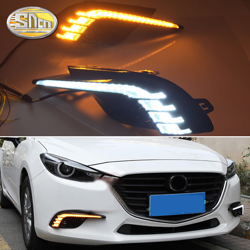 For Mazda 3 2017 2018,Yellow Turning Signal Relay Waterproof Car DRL 12V LED Daytime Running Light with Fog Lamp Hole SNCN for ford everest 2016 2017 with turning yellow signal relay waterproof car drl 12v led daytime running light led fog lamp sncn