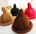 Cute Korean Style Nipple Thick Wool Capuche Pointed Hat Women Winter Warm Handmade Knitted Beanie Hat Cap