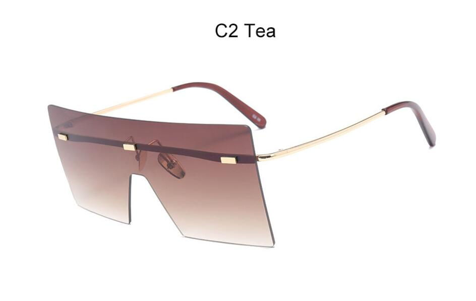 Oversize Brown Sunglasses 2020 Women Retro Vintage Sunglasses Luxury Brand Rimless Eye wear Big Shades 7