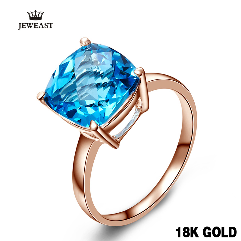 18 k 14 k Or Rose Naturel Bleu Topaze Anneau De Mode Et Élégant Classique Exquis Bijoux Vente Chaude sapphire Personnalisation 2017 nouveau