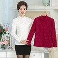 Collar con volantes de Encaje Floral de la primavera las mujeres blusa de gasa 2017 Más El tamaño 5XL moda casual camiseta de manga larga camisa superior femenino