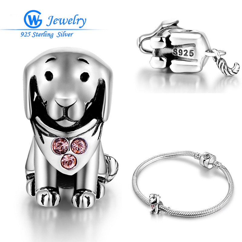 Really 925 Sterling Silver Lovely Puppy Bead Fit Pandora Charms Original Bracelet S925 Dog Animal DIY Jewelry Making X21230