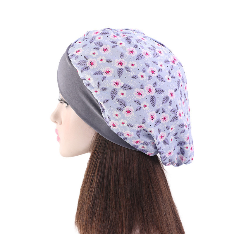 Women Cotton Printed Turban Cap Cross Elastic Muslim Hat Nightcap Chemotherapy Cap Female Bandanas Headwear Headscarf Hijab in Women 39 s Hair Accessories from Apparel Accessories