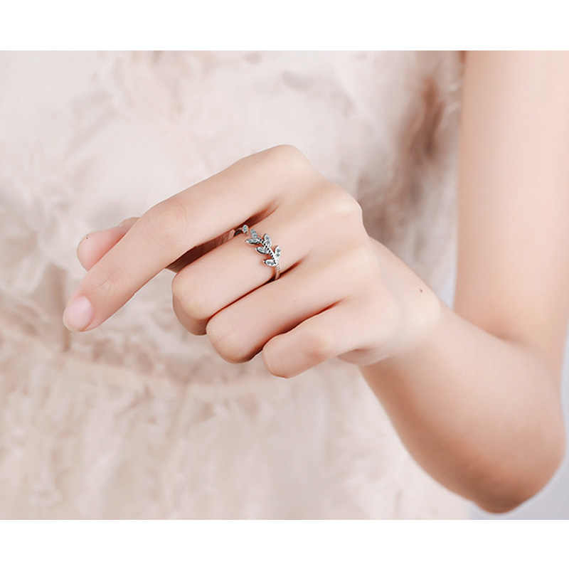 Charm ใบปรับได้ 925 แหวนเงินเครื่องประดับสำหรับของขวัญ Party Party aaa Cubic Zircon หิน Brides วงแหวนเปิดของขวัญ