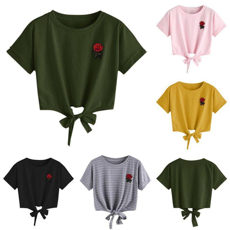 HTB1o6uTSpXXXXbxXpXXq6xXFXXXS - Embroidery Rose Short Sleeve Tops Tees JKP110